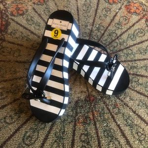 Kate Spade Black White Striped Rhett Wedge Sandal